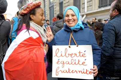Revolutionary French values: Freedom Equality Brotherhood